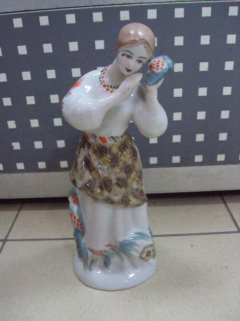 Фигура фарфор полонное зхк калина девушка с калиной 25 см №10577