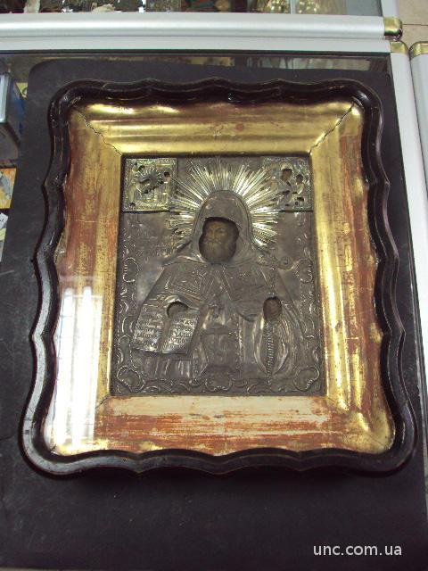 икона Святой Митрофан в серебре