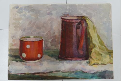 Картина акварель кухонный натюрморт с чашкой 40 х 29,5 см №168
