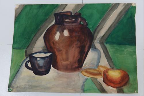 Картина акварель кухонный пейзаж чаепитие 39,5 х 28,5 см №170
