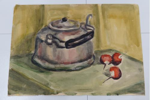 Картина акварель натюрморт чайник и редька 43 х 30,5 см №167