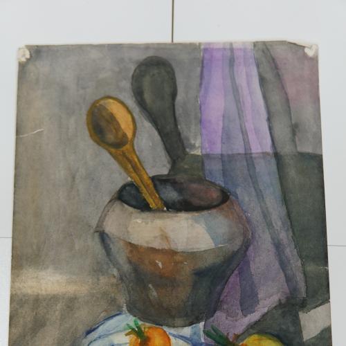 Картина кухонный Натюрморт 1967 г. акварель 29 х 42 см №178
