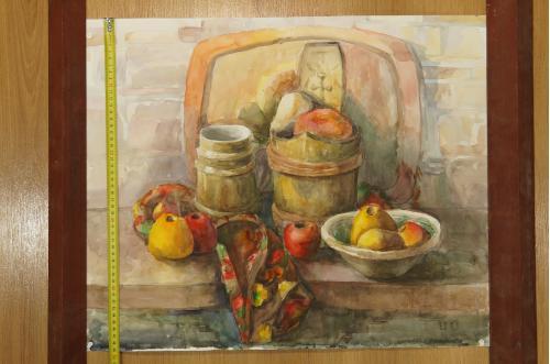 картина кухонный натюрморт, бумага акварель 49 х 60 см №163