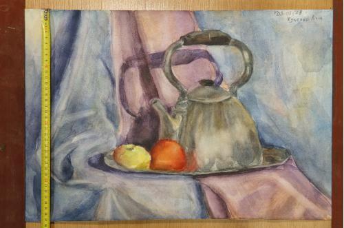 картина кухонный натюрморт с чайником, бумага акварель 37,4 х 55,8 см №171