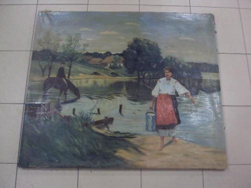 Картина на речке украинка с ведром копия Пимоненко 84,8 х 99,7 см холст, масло №36