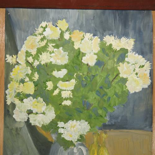 картина натюрморт цветы и бананы, бумага гуашь 38 х 55,6 см №173