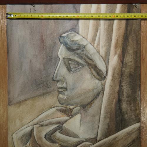 картина натюрморт с гипсовым бюстом, бумага аквартель 37,6 х 55,8 см №177