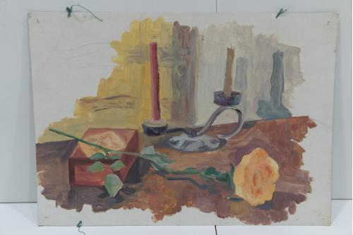 Картина Натюрморт. Свеча и роза. Масло, картон 42х30 см №153