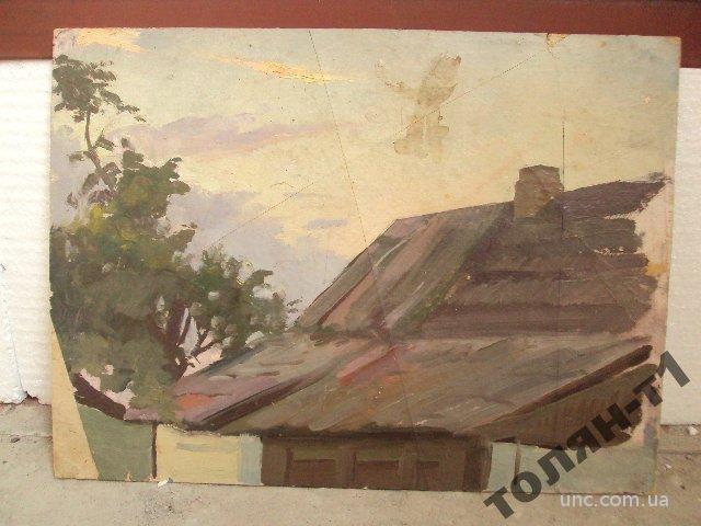 картина пейзаж крыша