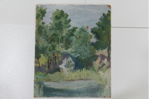 Картина Пейзаж. Лес, деревья 1989 г. масло, ДВП 20,7х25,5 см №142