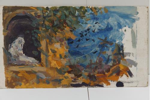 Картина Пейзаж. Осень, птицы, женщина у окна. Масло, картон 27,2х50,3 см №152