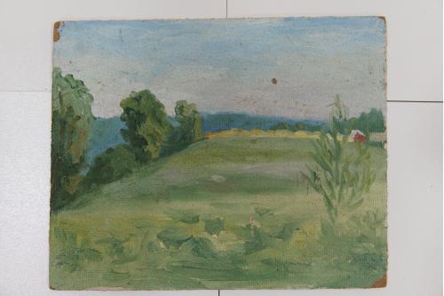 Картина Пейзаж. Поляна 1989 г. масло ДВП 25,3х20,6 см №143