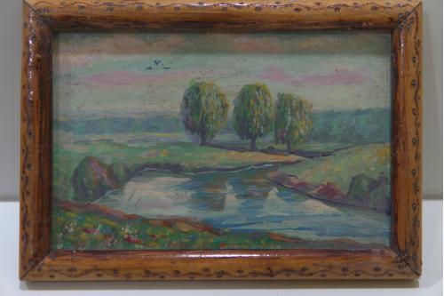 Картина Пейзаж. Верби над річкою. Ивы над рекой Масло пластик В раме 24х17см, без рамы 21х14см №104