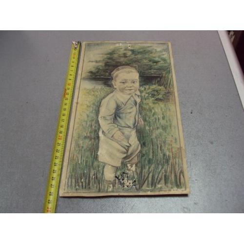 картина рисунок ребенок в траве графика винтаж №11769
