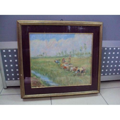 Картина в раме со стеклом Уборка урожая графика, бумага позолота в раме 46,7 х 42 см №103