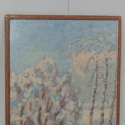 Картина зимний пейзаж. В санях. Масло. ДВП 21,5х31,5 см №136