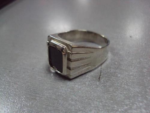 Кольцо мужское перстень печать камень морион серебро 925 проба украина вес 8,21 г размер 21 №10089