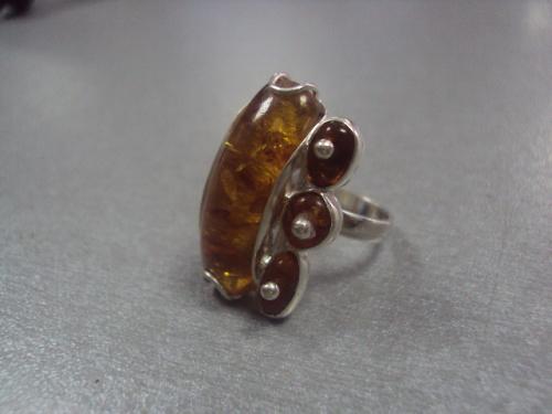"""кольцо женское янтарь серебро 925"""" украина 6,42 г 16,5 размер"""