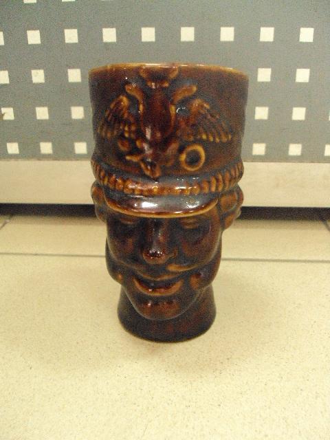 Кружка пивная керамика гусар голова 15 см №393