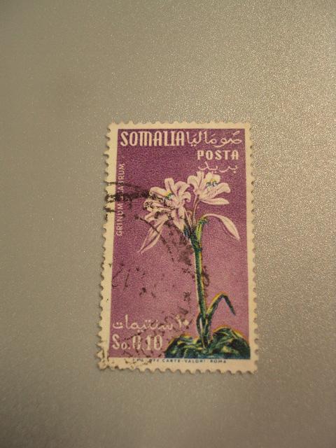 марка Итальянское Сомали 1972 цветы флора гаш №1748