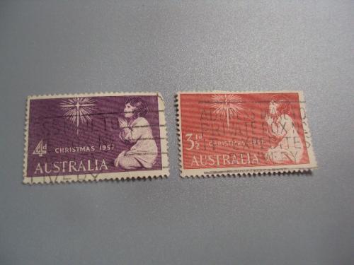марки Австралия 1957 рождество лот 2 шт гаш №2253