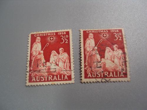 марки Австралия 1958 рождество лот 2 шт гаш №2255