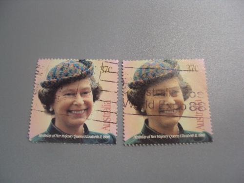 марки Австралия 1988 королева Елизавета ІІ день рождение лот 2 шт гаш №2257