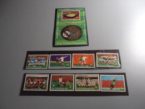 Марки серия Экваториальная Гвинея 1977 футбол чемпионат мира аргентина лот блок и 8 шт гаш №10281