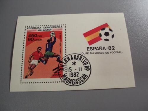 Марки блок Мадагаскар 1982 футбол испания гаш №10283