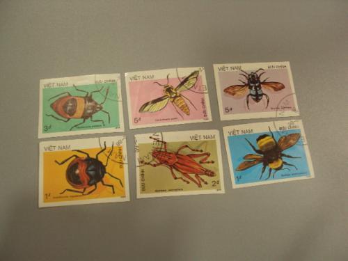 марки серия Вьетнам 1986 жуки насекомые пчелы лот 6 шт гаш без зубцов №1423