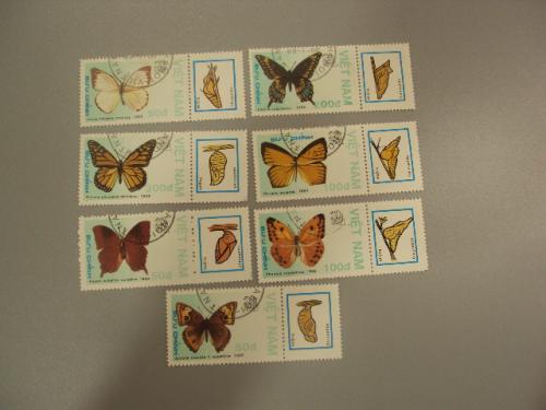 марки серия Вьетнам 1989 бабочки лот 7 шт гаш №1421
