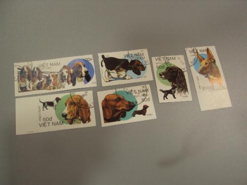 марки серия Вьетнам 1989 собаки лот 6 шт гаш без зубцов №1424