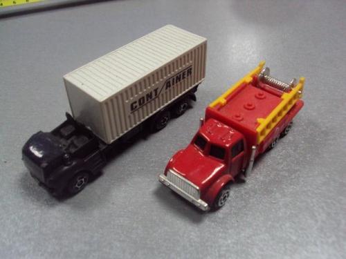 машинка контейнеровоз машина пожарная лот 2 шт №1181