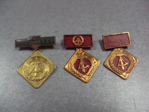 медаль знак гдр комсомол активист социалистического труда лот 3 шт №1078