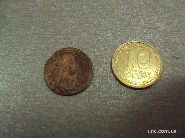 монета солид 1663 год польша бронза №6