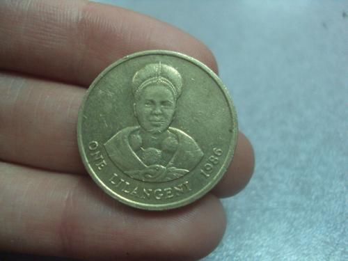 монета свазиленд 1 лилангели 1986 №1148