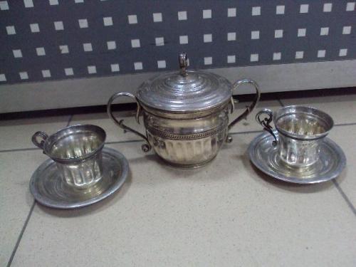 Набор сахарница чашки и блюдца блюдечко серебро 925 проба украина киев вес 535 г новое лот №10073