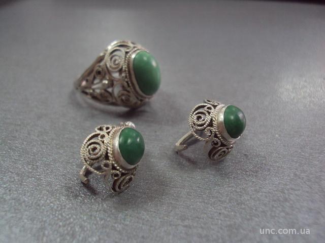 набор серьги и кольцо натуральная бирюза серебро