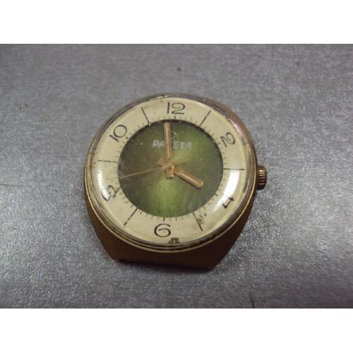 Наручные часы Ракета ссср двойной циферблат корпус позолота Ау5 баланс живой №10993