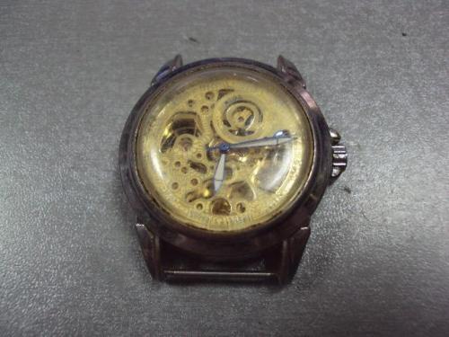 Наручные часы скелетон Mega Omega 25 камней швейцария swiss made на ходу №с9557