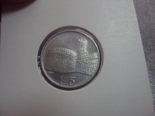 монета сан-марино 5 лир 1988 сохран №8092