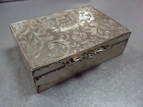 Шкатулка гравировка серебро 800 проба европа позолота вес 286,94 г размер 8 х 12 см №10297