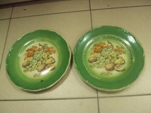 тарелки керамика расписные виноград с орехами Одесское художественное училище лот 2 шт №689