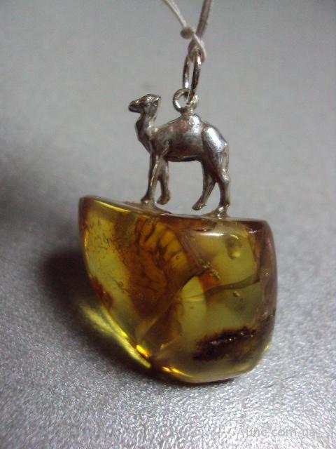 "янтарь подвеска верблюд серебро 925"" 9,11 г"