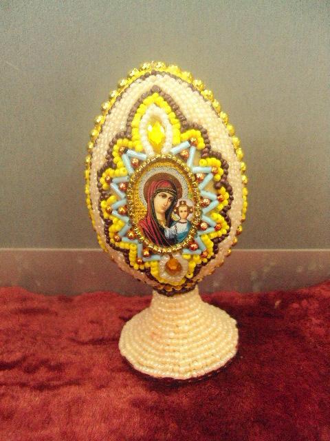 яйцо бисер икона спаситель богородица  №11601