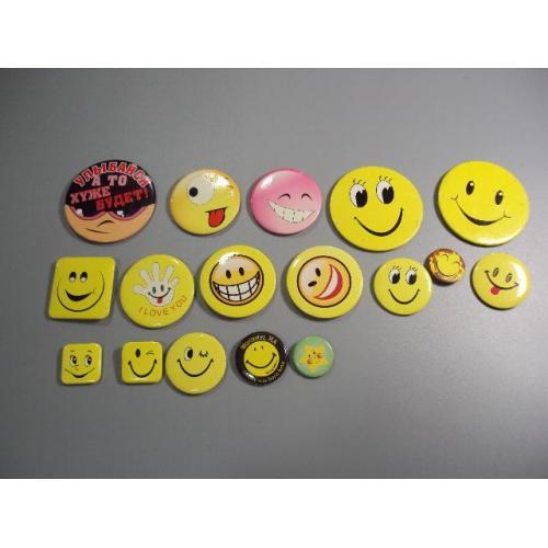 значок смайлик улыбка значки лот 17 шт №5790