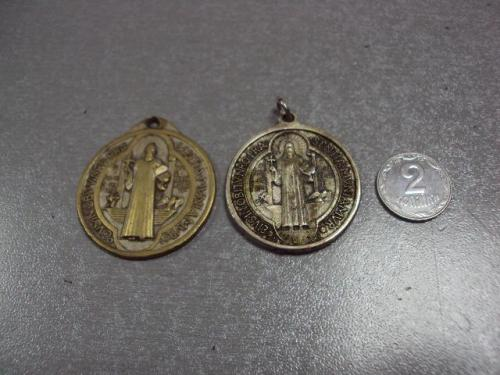 знак жетон подвес медальон святой бенедикт нурсийский лот 2 шт №817