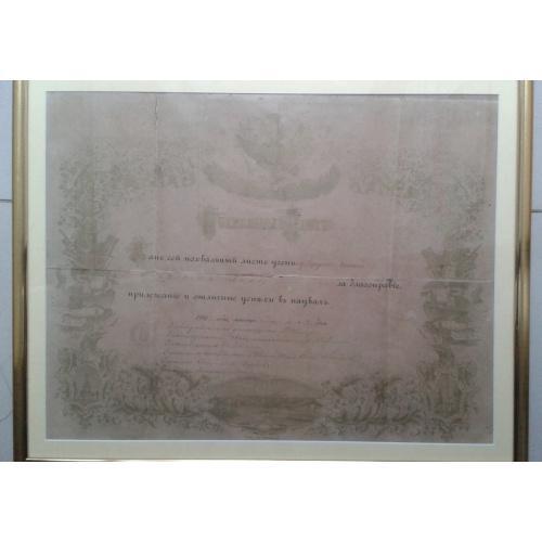 1902г Похвальный лист ученику начального училища