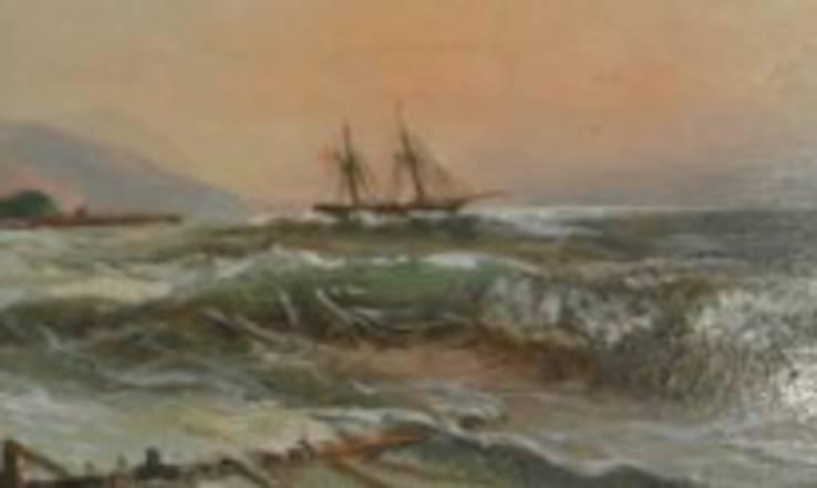 Рисованная дореволюционная открытка. Масло.По картине Айвазовского Крымский пейзаж
