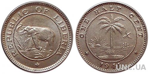1/2 цента Ø18,0 мм. Cu-Ni, 2,60 г.